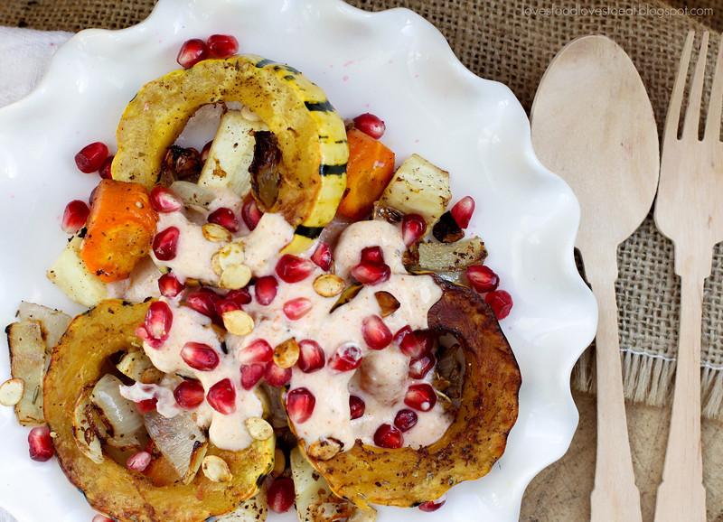 Roasted Vegetables with Harissa Yogurt // Loves Food, Loves to Eat