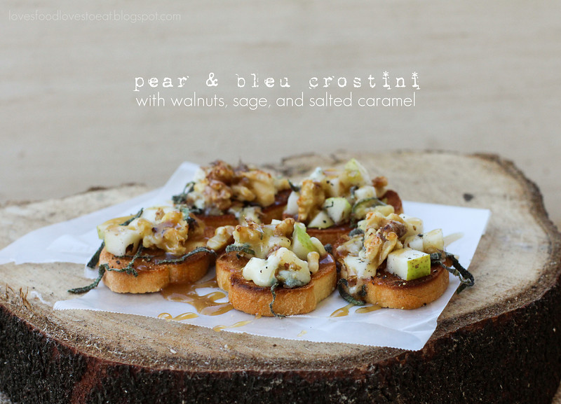 Pear & Bleu Crostini with Salted Maple Caramel Drizzle // Loves Food, Loves to Eat