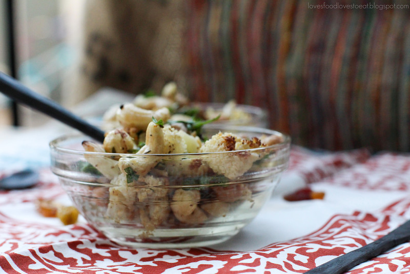 Roasted Cauliflower & Chickpeas with Nuts, Spices, and Raisins// Loves Food, Loves to Eat