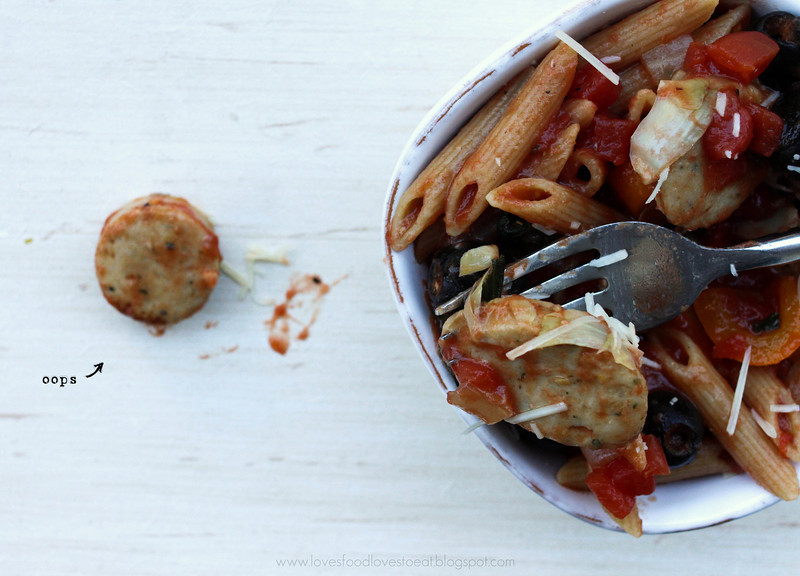 Weeknight Pasta with Artichokes, Olives, and Sausage: Loves Food, Loves to Eat