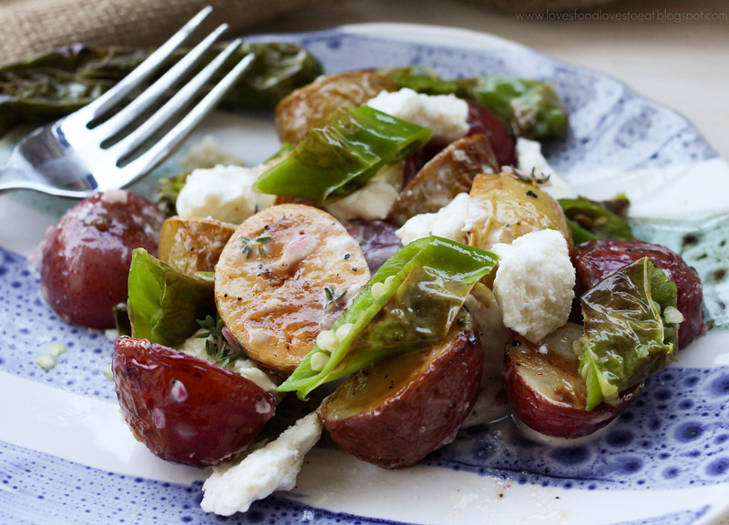 Warm Roasted Potato Salad with Blistered Shishitos & Feta: Loves Food, Loves to Eat