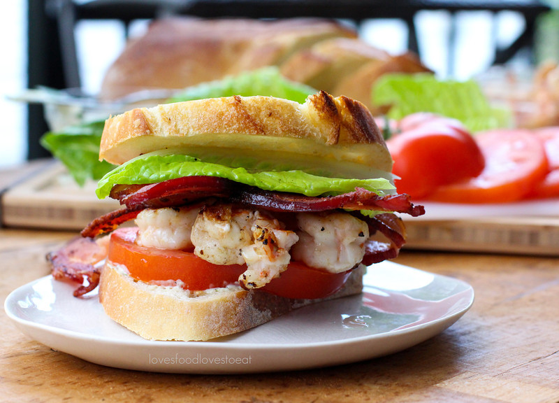 Shrimp BLTs with Basil Mayo // Loves Food, Loves to Eat