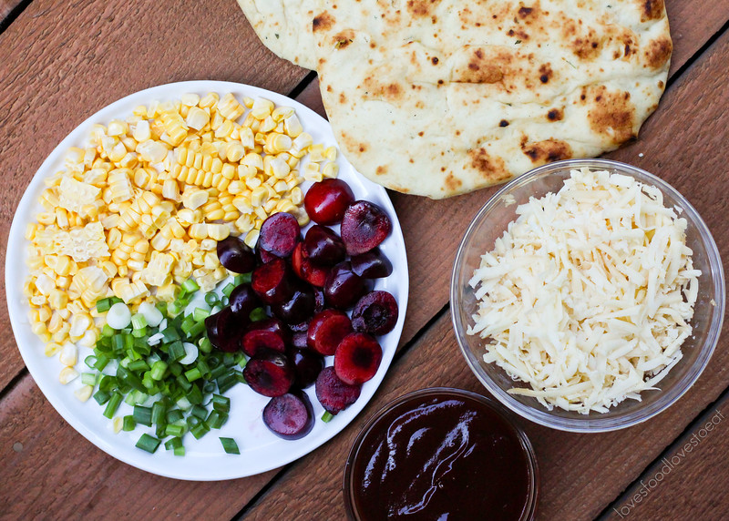 BBQ Chicken Flatbread Pizzas with Cherries and Corn // Loves Food, Loves to Eat
