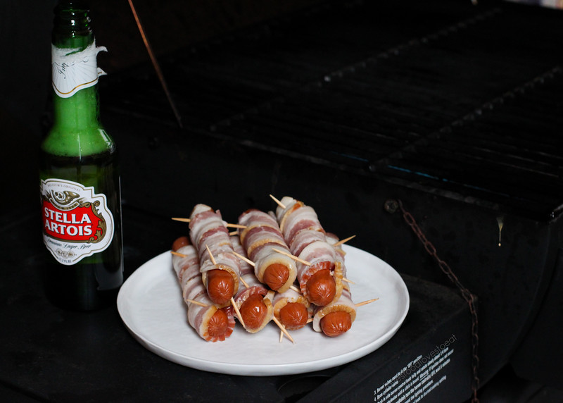 Bacon Wrapped Hot Dogs with Artichoke Jalapeño Dip // Loves Food, Loves to Eat