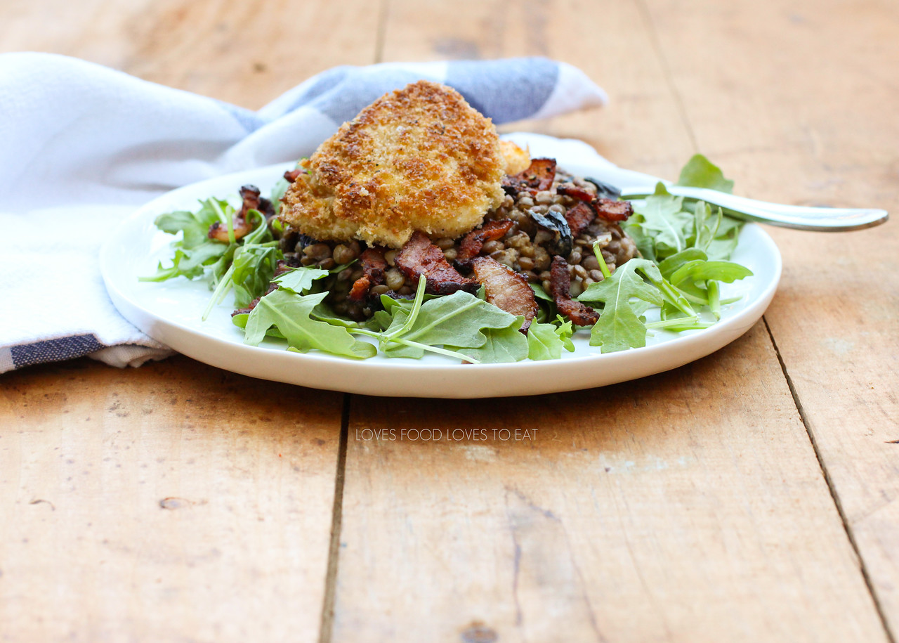 Warm Lentil Salad with Butter-Crumbed Eggs | #SpringPantryPurge